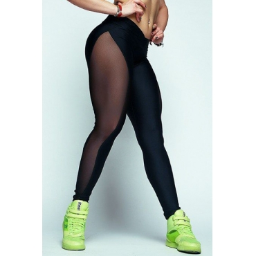 Sexy Mid Waist Mesh Patchwork Black Polyester Leggings