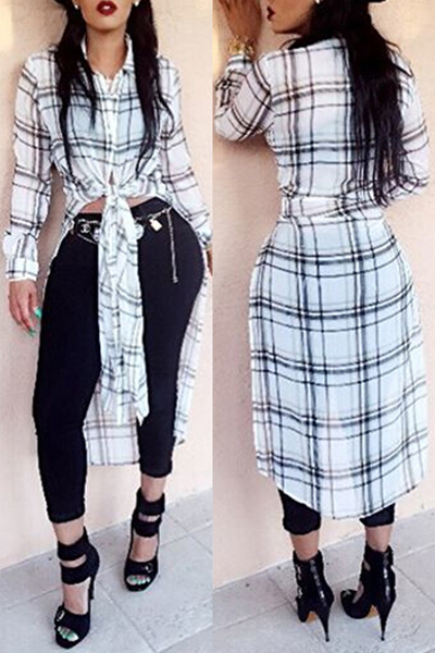 Leisure Turndown Collar Long Sleeves Plaid White Chiffon Shirts