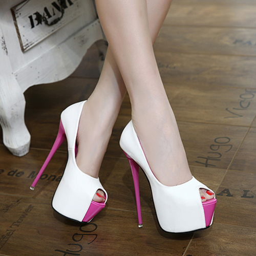 Trendy Round Peep Toe Color-block Patchwork Platform Stiletto Super High Heel White PU Pumps