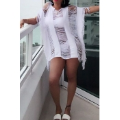Trendy Round Neck Half Sleeves Hollow-out Tassel Design White Cotton Blends Cover-Ups