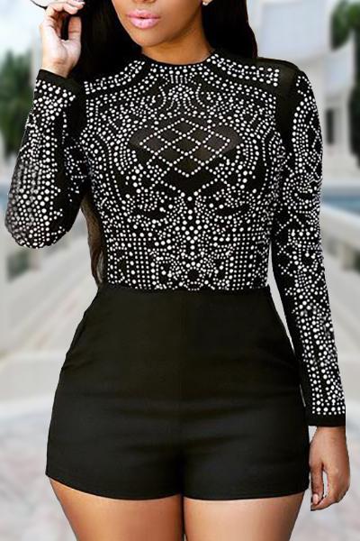Trendy Round Neck Long Sleeves Rhinestone Decorative Black Polyester Skinny Jumpsuits