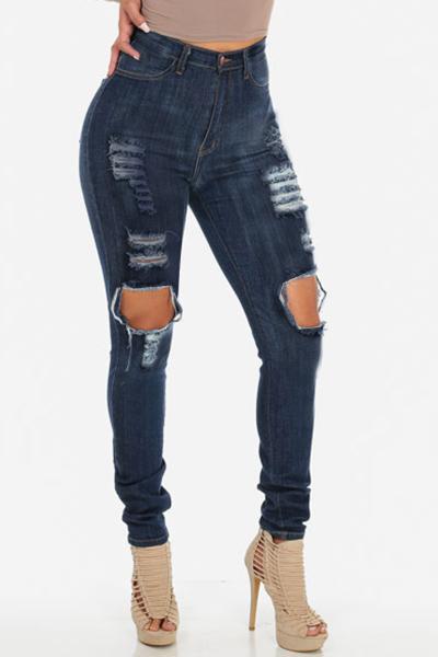 De moda cintura alta rodilla Broken Holes Denim azul Skinny Jeans