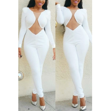 Charming Round Neck Long Sleeves Mesh Patchwork See-Through White Polyester One-piece Skinny Jumpsuits
