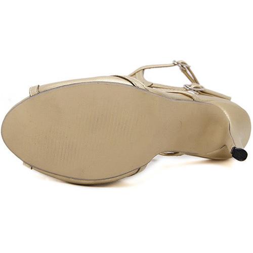 Sapatilhas de salto de ouro com sapatos de salto alto com salto estirado aberto na moda