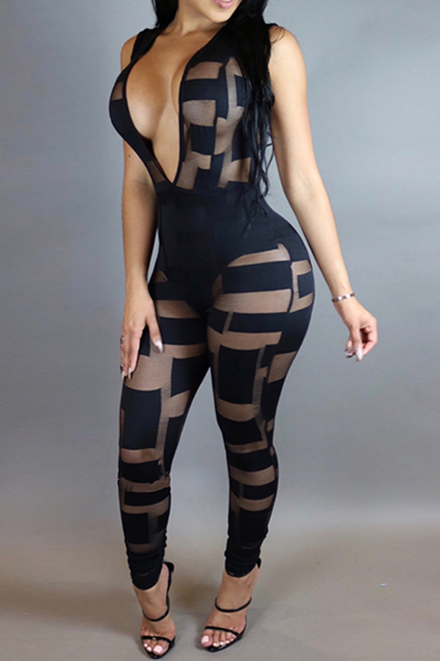 Sexy Deep V Neck Sleeveless Patchwork See-Through Black Lace One-piece Skinny Jumpsuits