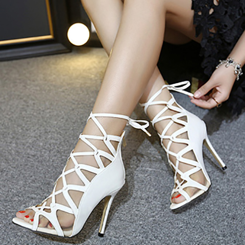 Trendy Open Toe Cross Lace-up Hollow-out Stiletto Super High Heel White PU Pumps