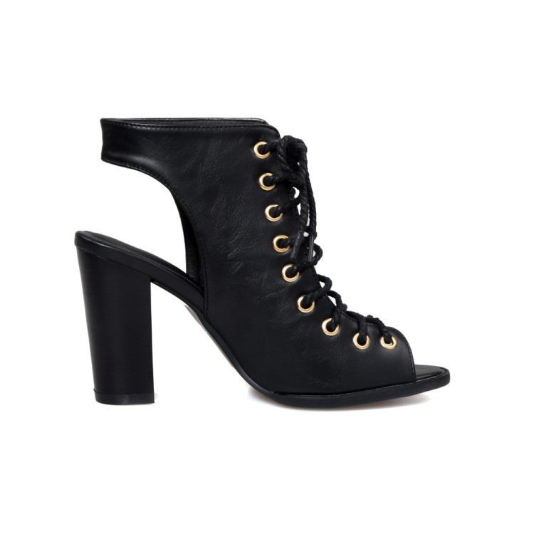 Stylish Open Toe Cross Lace-up Hollow-out Chunky Super High Heel Black PU Pumps