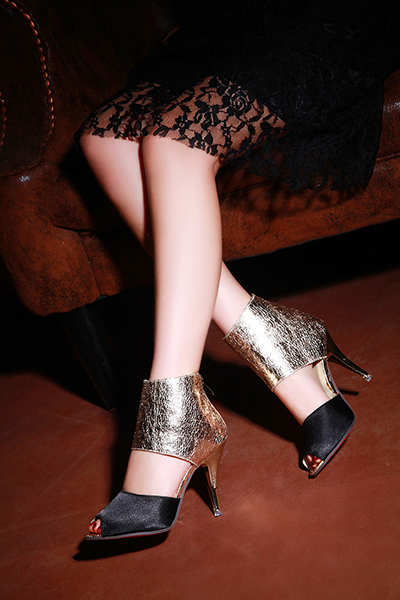 Trendy Round Peep Toe Color-block Patchwork Stiletto Super High Heel Black PU Pumps