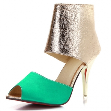 Trendy Round Peep Toe Color-block Patchwork Stiletto Super High Heel Green PU Pumps