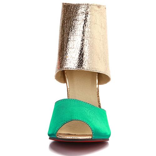 trendy tiro espreitadela dedo do pé colorir-block Patchwork Stiletto Super High Heel Verde PU Bombas