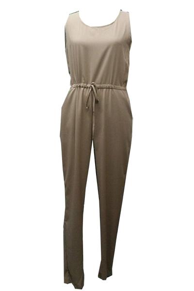 Cheap Sexy Tank Sleeveless Solid Grey Blending One-piece Regular Jumpsuit