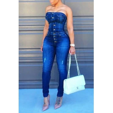 Trendy Strapless Single-breasted Design Blue Cotton Blends One-piece Skinny Jumpsuits