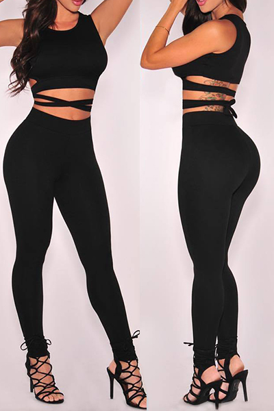 Sexy Round Neck Sleeveless Lace-up Hollow-out Black Knitting Two-piece Pants Set