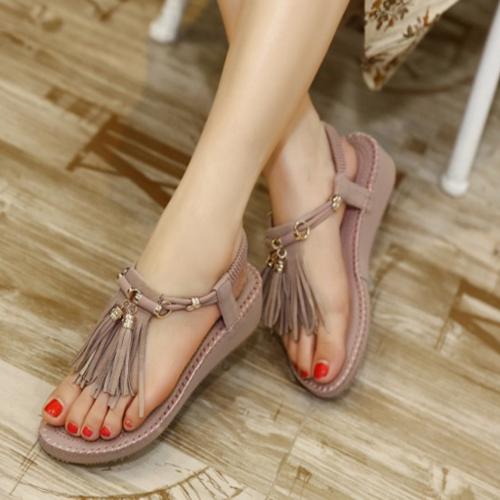Стильный Открытый Toe кисточкой дизайн Плоский каблук низкий розовый PU сандалии