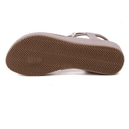 Elegante Open Toe Tassel Design Flat Low Heel Pink PU Sandals