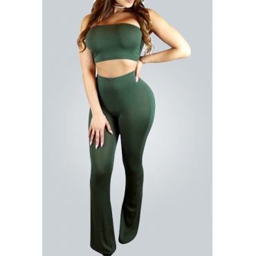 Contracted Style Strapless Army Green Cotton Blend Two-piece Pants Set