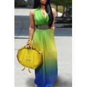 Stylish V Neck Tank Sleeveless Floral Print Dress