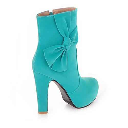 Spring Autumn Round Toe Stiletto High Heel Zipper Blue Martens Boots