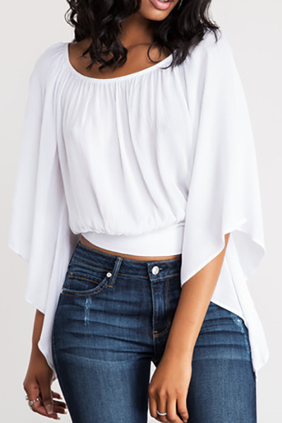 Leisure Round Neck Three Quarter Sleeves Backless White Polyester T-shirt