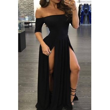 Euramerican Sexy Bateau Neck Off The Shoulder Half Sleeves High Split Black Cotton Ankle Length Dress
