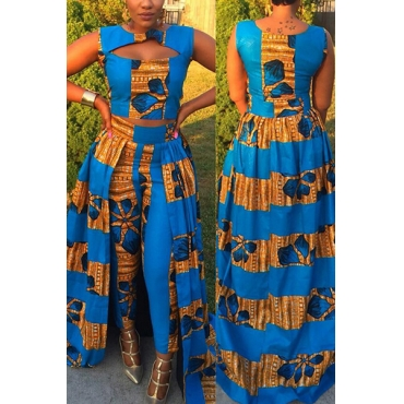 Stylish Round Neck Sleeveless Printed Hollow-out Blue Qmilch Two-Piece Pants Set