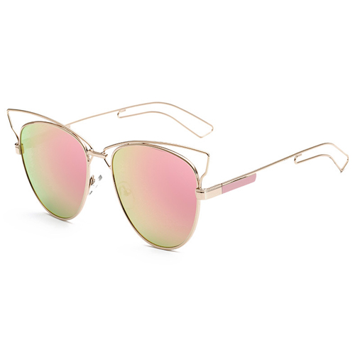 Stylish Big Frame Hollow-out Pink PC Sunglasses