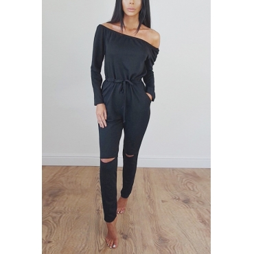 Contracted Style Bateau Neck Strapless Long Sleeves Broken Holes Black Polyester One-piece Jumpsuits