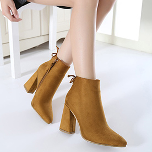 Stylish Pointed Closed Toe Zipper Design Chunky Super High Heel Coffee PU Ankle Martin Boots