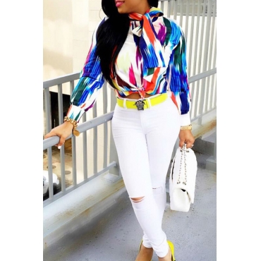 Euramerican Round Neck Long Sleeves Color-block Patchwork Polyester Shirts