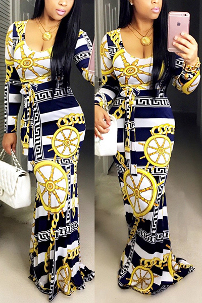 Trendy Boat Neck Long Sleeves Digital Printing Qmilch Floor length Dress