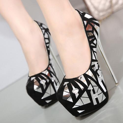 Stylish Round Toe Closed Toe Sequined Decorative Stiletto Super High Heel Black PU Basic Pumps