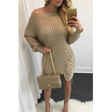 Trendy Round Neck Long Sleeves Hollow-out Asymmetrical Khaki Acrylic  Mini Dress