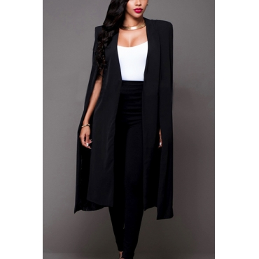 Euramerican Cloak Design Black Healthy Fabric Long Trench Coats