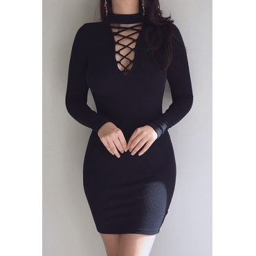 Charming Mandarin Collar Long Sleeves Hollow-out Black Polyester Sheath Mini Dress