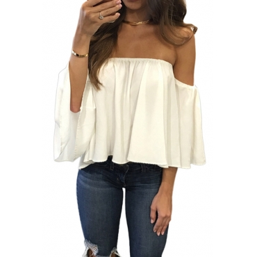 Stylish Bateau Neck Half Sleeves Falbala Design White Chiffon Blousing Blouse