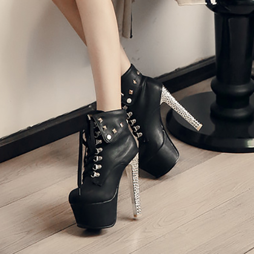 Trendy Round Toe Rivet Decorative Chunky Super High Heel Black PU Short Martin Boots