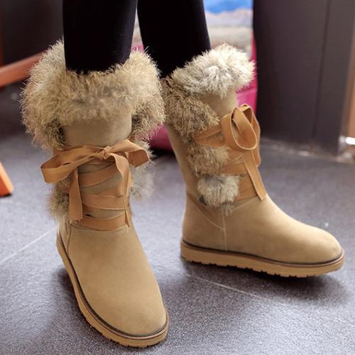 inverno tiro dedo do pé renda-up Flat Low Heel Damasco Botas de neve PU