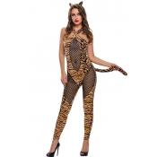 Sexy Halter Neck Tiger Printed Polyester Cosplay C