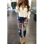 Stylish V Neck Long Sleeves Lace-up Hollow-out Whi