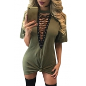Sexy Deep V Neck Half Sleeves Hollow-out Army Green Polyester Mini Dress