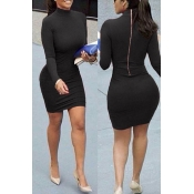 Vertraglicher Stil Mandarin Kragen Langarm Zipper Design Schwarz Baumwolle Blend Mantel Mini Kleid