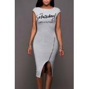 Leisure Round Neck Sleeveless Zipper Design Grey Cotton Sheath Knee Length Dress