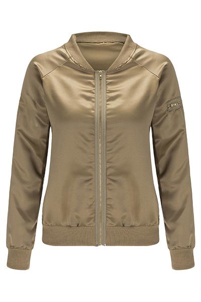 Trendy Round Neck Long Sleeves Zipper Design Yellow Cotton Jacket