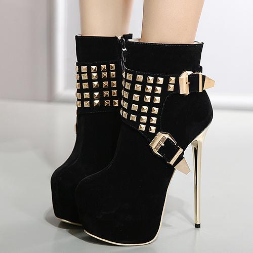 Elegante redonda dedo del pie remache decorativos negro camuflaje corto botas