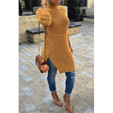 Fashion Round Neck Long Sleeves Lace-up Hollow-out Yellow Acrylic  Knee Length Dress