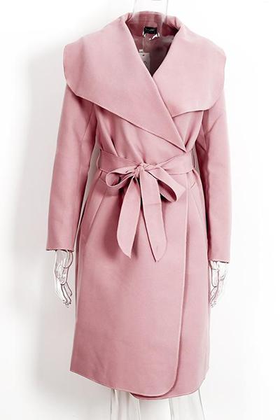 Stylish Turndown Collar Long Sleeves Pink Polyester Long Wool Coat