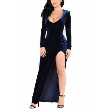 Sexy V Neck Long Sleeves Side Split Dark Blue Velvet Floor length Dress