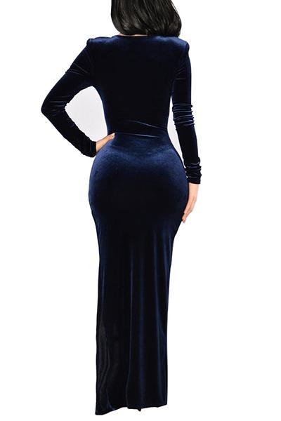 Sexy cuello en V de manga larga de lado partido azul oscuro terciopelo piso vestido de longitud