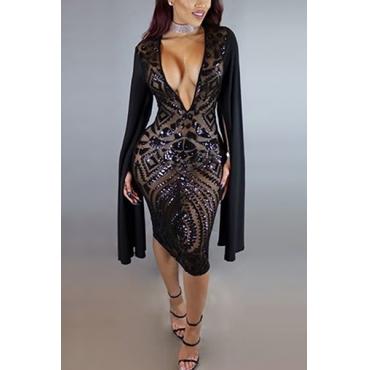 Sexy Deep V Neck Long Sleeves Patchwork Black Polyester Sheath Knee Length Dress
