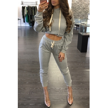 Leisure Hooded Collar Long Sleeves Drawstring Grey Cotton Two-piece Pants Set